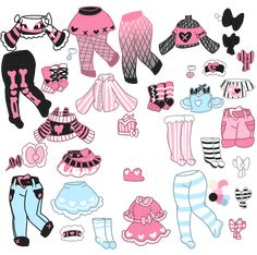 Pastel Goth Bone Crazy Outfits (closed) by Horror-Star on DeviantArt Manga Clothes, Drawing Anime Clothes, Art Reference Poses, Drawing Reference, Kawaii Drawings, Cute Drawings, Clothing Sketches, Fashion Design Drawings, Drawing Base