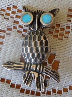 Silver & Turquoise Owl Pin by BuddysBoutique on Etsy Turquoise Bracelet, Vintage Jewelry, Owl, Silver Rings, Jewels, Handmade, Etsy, Hand Made, Bijoux
