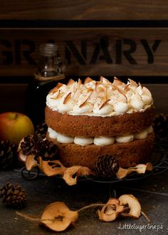 This Cinnamon Apple Cake is a light and bouncy sponge cake loaded with nuggets of home dried apple. Adorned by delectable salted maple buttercream. Bliss.