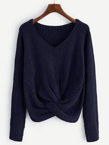YYG Men Stretchy Knit Fluffy Slim Long Sleeve V-Neck Pullover Sweaters