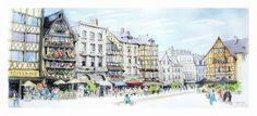 Rouen, Urban Sketching, Street View, France, Normandie, French, Urban Sketchers