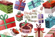 Download thisWatercolor Christmas Gifts Clipart Set - Seasonal Presents - Invite Supplies - Greeting Card Border for FREE!
