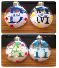 Homemade Christmas ornaments may sound unprofessional and, well, home made. But if you're interested in making your own Christmas ornaments, … Personalized Christmas Ornaments, Diy Christmas Ornaments, Christmas Balls, Christmas Projects, Holiday Crafts, Christmas Holidays, Christmas Decorations, Ornaments Ideas, Glitter Ornaments
