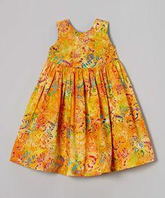 Look what I found on #zulily! Orange Cat Batik Babydoll Dress - Toddler & Girls by Ladybug Creations #zulilyfinds