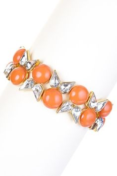 Peach & Gold Floral Motif Stone & Crystal Stretch Bracelet by Olivia Welles on @HauteLook