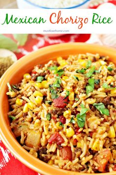 Mexican Chorizo Rice is a hearty and flavorful blend of rice, chorizo, tomatoes, peppers and spices that can be served as a main meal or a side dish. Ready in less than 30 minutes! Chorizo Rice, Mexican Chorizo, Best Side Dishes, Side Dish Recipes, Dinner Recipes, Main Dishes, Dinner Ideas, Chorizo Recipes, Mexican Food Recipes