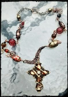 Amber Crystal Cross with Vintage Beads...details www.funkycoolpatina.com