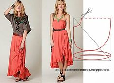 Inspiration for me to use when I'm exploring flat pattern drafting. - Skirt and dress, this style is relaxed, it is very easy to cut out and make and the secret is the elastic waistband.  Choose a fine fabric to make the look more expensive looking but it only needs 2.60 meters of fabric.