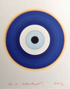 Dimitris Milionis - GREEK EVIL EYE - Signed Pigment Inks Spin Drawing Original #PopArt