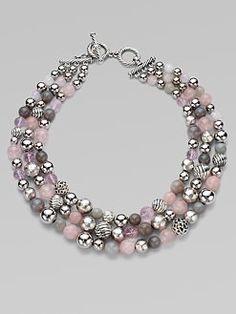 David Yurman - Rose Quartz, Grey Moonstone, Grey Chalcedony and Sterling Silver Necklace