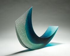 Galia Amsel 'Floe 10', 2013 (cast jade and clear gaffer glass handsmoothed sandblasted acid etched texture, polished 550 x 500 x 105mm)