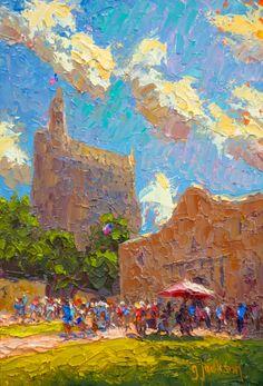 """Alamo Morning,"" San Antonio, Texas, 9 x 12 inches, Oil.  Artist, Guy Jackson.  www.guyjacksonart.com. Impressionist Art, Art Oil, San Antonio, Jackson, Guy, Texas, Artist, Painting, Artists"