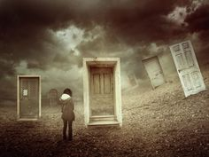 Doors.  I had a dream like this, spurred on by childhood fright of my mother having delirium.