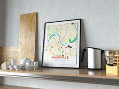 Now available in our store: Premium Map Poste... Check it out here! http://shop.mapprints.co/products/premium-map-poster-of-nashville-tennessee-modern-colorful-unframed-nashville-map-art?utm_campaign=social_autopilot&utm_source=pin&utm_medium=pin