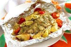 Foil Pack Chicken and Artichoke Dinner