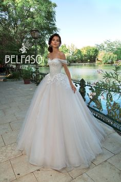 """Alameya White Tulle Embroidered Off Shoulder Princess Cinderella Wedding Dress / Bridal Ball Gown with Open Back, Collection """"Eliziya"""" by Belfaso<br> Ballroom Wedding Dresses, Cute Wedding Dress, Princess Wedding Dresses, White Wedding Dresses, Bridal Dresses, Cinderella Dresses, Marie, Ball Gowns, White Tulle"""