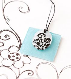 Stylish Pendant from Shrink Plastic! I make these all the time and get lots of compliments.