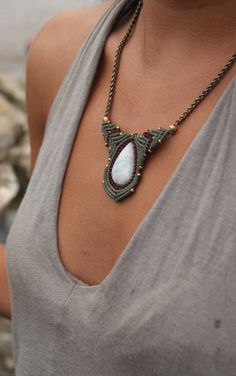 macrame necklace with moonstone by Rommymacrame on Etsy, $75.00
