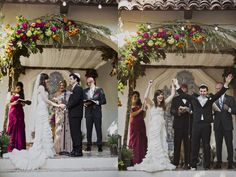 Jewish Wedding Ceremony - LVL Events // Cake: Lindsey Sinatra // Floral Design: Larrissa Rehder with Inviting Occasion // Catering: Nicole Schieppati with 24 Carrots // Venue: Rancho Las Lomas // Transportation: Todd Szilagyi // Hair and Makeup: Design Visage // Photographers: Matt & Angie Sloan // DJ: Brian Lee with Elevated Pulse Production // Rentals: Found Vintage Rentals // Linens: Designer Speciality Linens // Wedding Gown: Mon Amie designer Lazaro