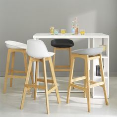 Wooden tall dining table in white satin finish W 120cm | Maisons du Monde