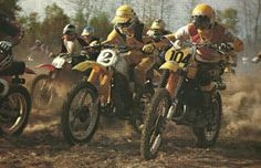 Classic - Bob Hannah on the #2 bike for Yamaha and De Coster on the #104 for Suzuki at the '77 Trans-AMA in Tampa.  Duel of motocross titans