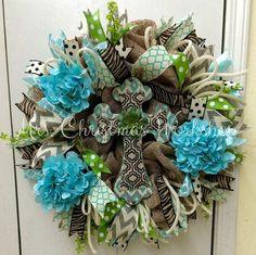 Hydrangea burlap wreath Brown green and teal turquoise Aqua blue burlap religious wreath with cross Wreath Crafts, Burlap Wreath, Wreath Ideas, Crosses Decor, Wall Crosses, Turquoise Wreath, Summer Wreath, Spring Wreaths, Cross Wreath