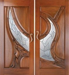 """""""Aspirations"""" by Fine Woodworks Custom Doors. Hand carved solid mahogany, leaded glass, bronze handles as shown high. Made of Honduran Mahogany, Leaded Glass, and Bronze. Visit our website for additional photos and pricing. Wooden Door Design, Main Door Design, Wooden Doors, Cool Doors, Unique Doors, Panel Doors, Windows And Doors, Entrance Doors, Doorway"""