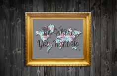 Go Where You Want To Quote Pattern Map Wall by ElmStStudioPrints