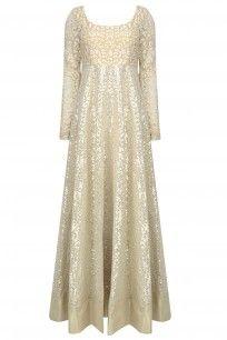 Off White Thread Embroidered Sequinned Anarkali Set #abhinavmishra #perniaspopupshop #shopnow #happyshopping