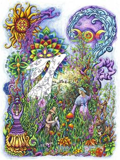 Spring Equinox:  Hare is an exuberant vision of fertility and springtime and is full of the wild energy of the pagan spring festival of Ostara. As the name suggests, Ostara forms part of the basis for modern Easter celebrations. The traditional March hare stands out in a wild landscape peopled with strange creatures, personages, and symbols.