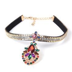 2016 ZA Black Velvet Choker Necklace Pendant Torques Burlesque Neck Chain Gold Crystal Collar Women Collier Femme Gothic Jewelry