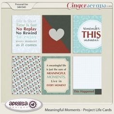 FREE Aprilisa Designs : 2014 iNSD! - Meaningful Moments Project Life Cards Freebies.