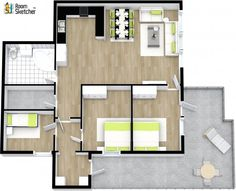 What would YOU change about this floor plan?  Granite countertops, hardwood flooring & brand name decor: http://www.roomsketcher.com/features/3dphotos/   3D floor plan with aerial view of three bedroom family home designed in RoomSketcher Business Edition by Kaland & Partners  #floorplans #homes #flooring