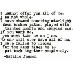 I am not whole... Broken Hearts Club, Fall To Pieces, Teaching Humor, Writers And Poets, I Can Not, Word Porn, I Want You, Writing Inspiration, Me Quotes