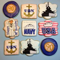 The Navy and the by Sharon Gibson/the Plaid Cookie Co. No Bake Sugar Cookies, Sugar Cookie Frosting, Bar Cookies, Navy Birthday, Happy 90th Birthday, Marine Cake, Navy Party, How To Make Icing, Cookie Designs