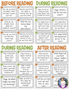 Questions to use with the book Creepy Carrots. Freebie includes before, during, and after reading.