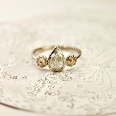 Image of 18ct white gold, opaque diamond trilogy ring {No.63}