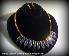 Fan Shape Necklace with crystals, Copper Hematite and Earrings.
