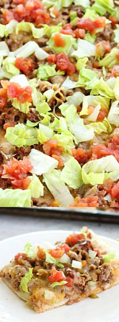 This Taco Pizza from Table for Seven is an awesome combination of two favorites! Pizza crust is layered with refried beans, taco meat, and all the taco fixin's you love!