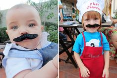 Cooking theme party with fun mustaches!