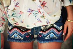 Birds ( Graphic Shirts & Blouses & Denim Shorts ) with