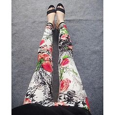 Women's Fashion Red Flower Pattern Leggings . Like this style? Click the picture to see more!