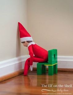 Elf is in Timeout on Frugal Coupon Living. Daily elf ideas every day! Christmas Traditions, Christmas Activities, To Do App, Elf Auf Dem Regal, Awesome Elf On The Shelf Ideas, Time Out Chair, Shelf Inspiration, Elf Magic, Elf On The Self