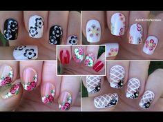 NAIL ART COMPILATION - Floral Nails / LifeWorldWomen Part 3 - : Today I share the third part of my nail art compilations which one contains floral nail designs. French Manicure Nail Designs, French Tip Nail Art, Simple Nail Art Designs, Floral Designs, Rose Nail Art, Floral Nail Art, Nail Art Diy, Toothpick Nail Art, Sponge Nail Art
