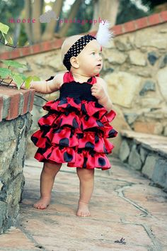 Ladybug Dress, Black and Red Polka Dots, Black and Red Ties, Elastic Bodice, Satin Ruffles, Cotton Black Fabric on Etsy, $54.99