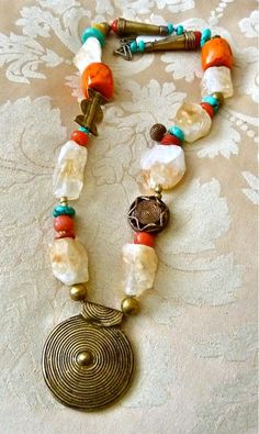 TRIBAL - Statement Necklace - Ethnic - Brass Nepal Pendant - Chunky CITRINE - Rough Nuggets -Turquoise - Large Coral - Lost Wax - Gold Dic, $345 TheJoyMoosCollection