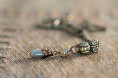 Owl Jewelry Brass Necklace Wire Wrapped Jewelry by AmorphiaDesigns