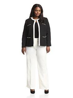 Tahari by ASL Plus Crepe Pant Suit (Black/Cloud)