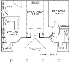Pool/Guest House First Floor Plan of Cottage   Craftsman   House Plan 57879