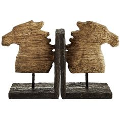 Good The Rustic Look Of Weathered Driftwood Is Elegantly Reproduced From  Handworked Resin In This Striking Pair Of Bookends. Each Horse Is  Individually Formed ...